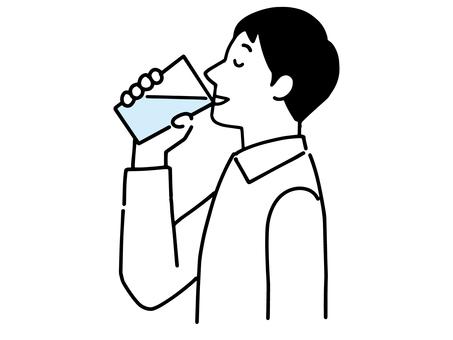 一個人喝一杯水