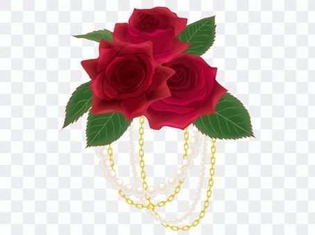 赤いバラのコサージュ