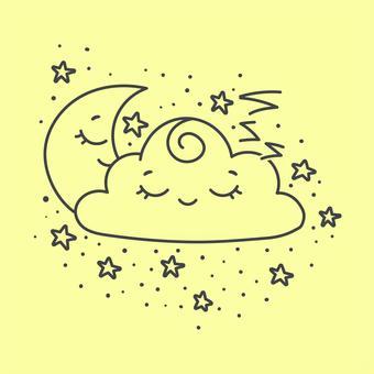 新月月亮睡覺的臉