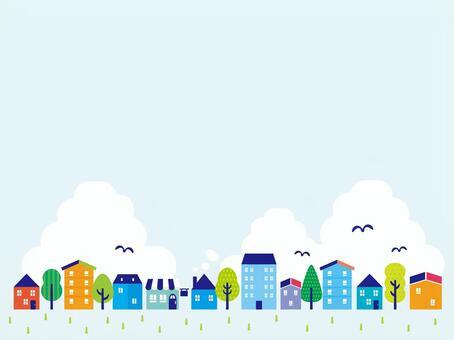 Blue city sketch illustrations