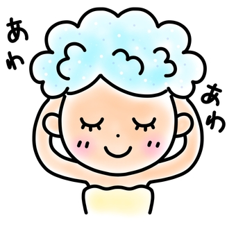 Woman washing hair simple illustration
