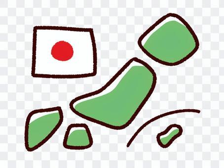 手描きのデフォルメの日本と国旗