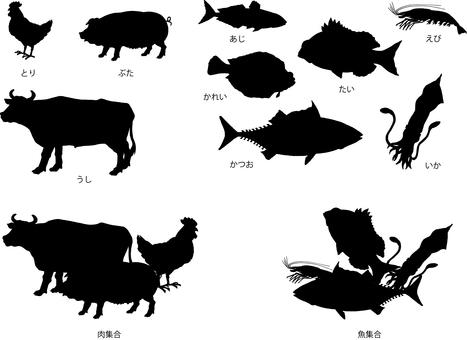 肉和魚設置剪影圖