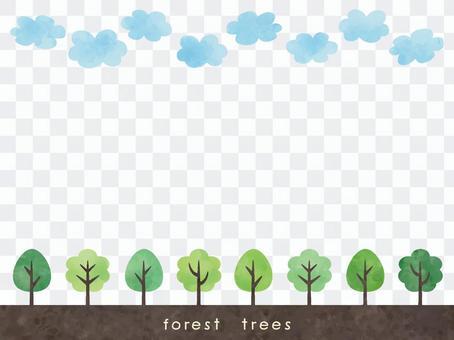 上下框架:雲層和樹木