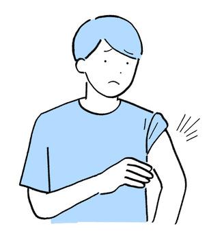 接種疫苗後出現副作用的年輕男性