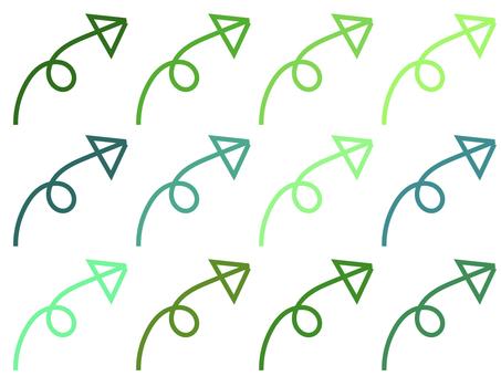 簡單的 Kururin 箭頭套裝:綠色