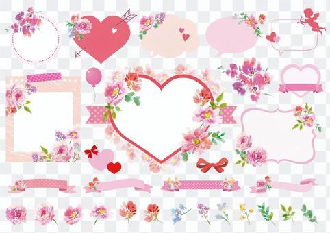 水彩花卉情人节框架素材集