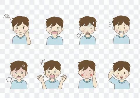 Facial expression of male elementary school student 02