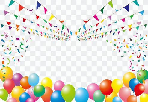 加蘭旗幟運動天氣球五彩紙屑氣球裝飾