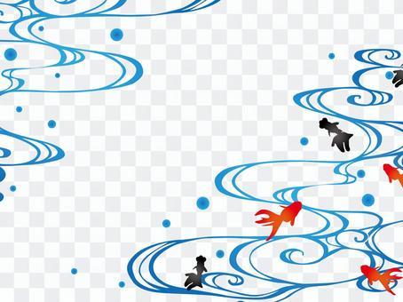 日本框架藍色金魚