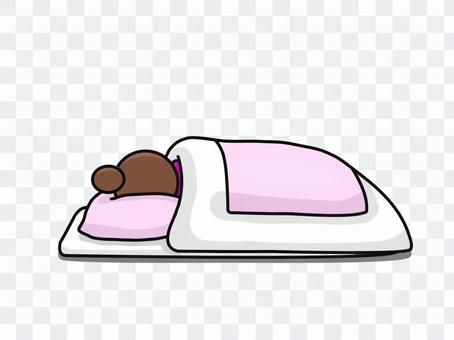 Futon sleeping person