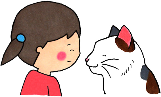 Cats and girls (staring at each other)