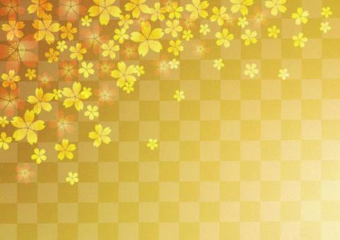 桜 _ lattice _ gold foil _ background