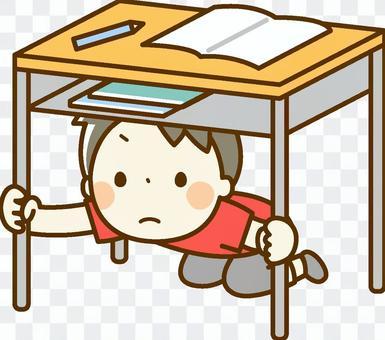 孩子們躲在桌子下面,帶著疏散演習