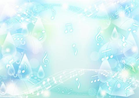 彩色背景水平與傘和滴和音符