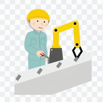 工人在工廠工作