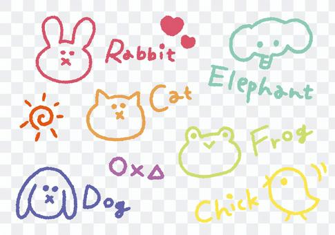 用蠟筆繪製的動物(彩色)