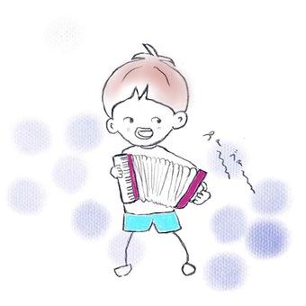 演奏手風琴的孩子