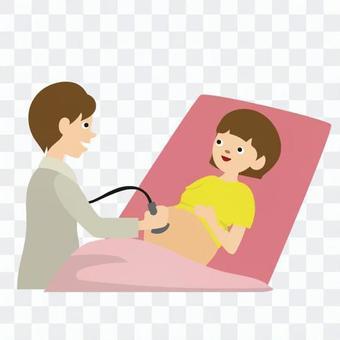孕婦接受迴聲檢查