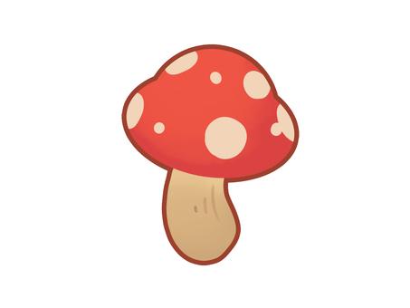 帶線的蘑菇紅色圖標