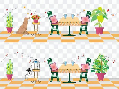 Interior_chair and dog_orange