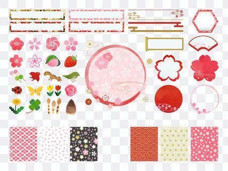 春と桜イラストと和風フレームセット