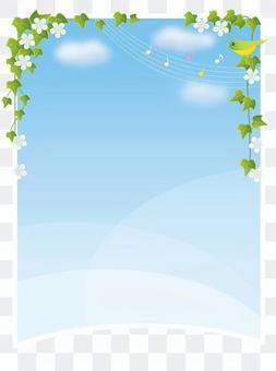 藍藍的天空背景和常春藤葉子