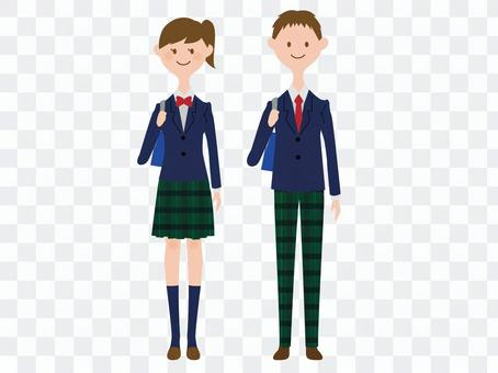 穿著學生服裝的男人和女人
