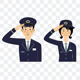 男女鐵路職工敬禮