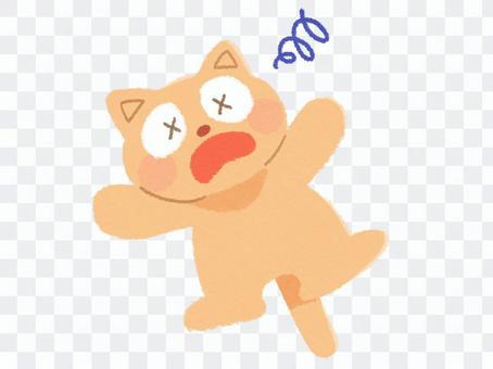 一隻生病的貓的插圖