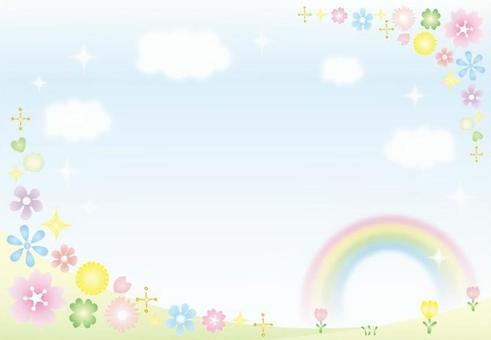 天空,彩虹和花卉背景