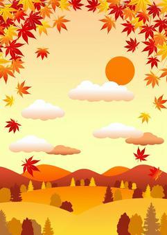 秋の里山背景タテ