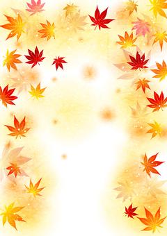 日本紙水彩風格秋葉蓬鬆背景垂直