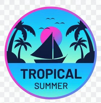 棕櫚樹和遊艇貼紙