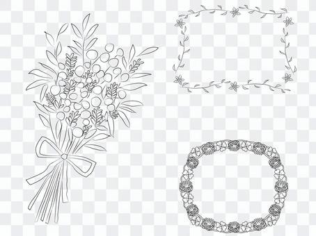 春天的花朵手寫框架粗糙
