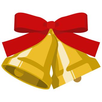 聖誕鐘聲兩個鈴鐺和絲帶