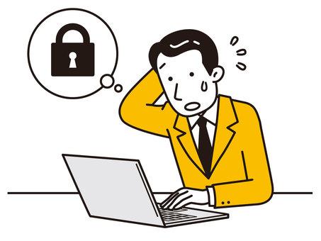 一個人被鎖定的計算機所困擾