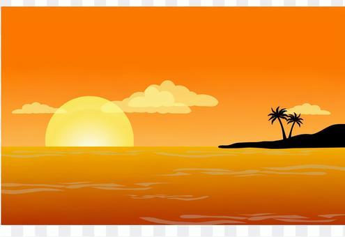 落日下的海灘