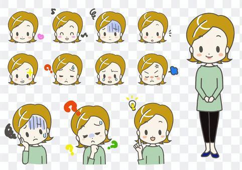 女性面部表情姿勢簡單