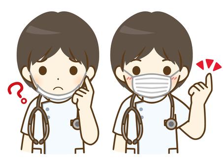 戴面具的年輕男護士
