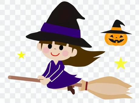 Halloween girl riding a horse