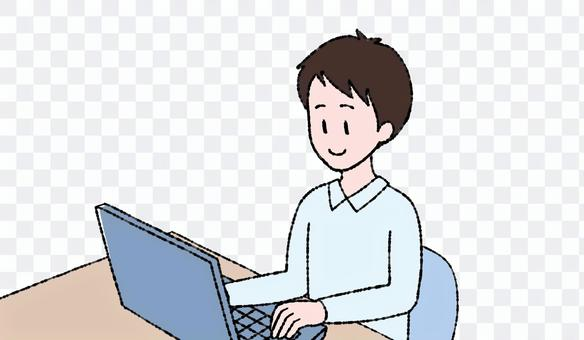 在計算機上工作的一個人