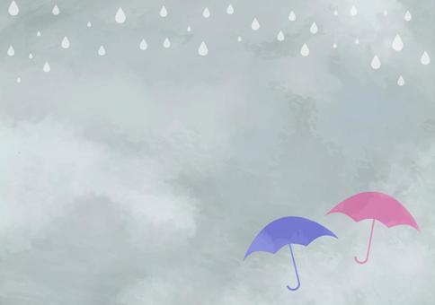 水彩的雨季背景卡