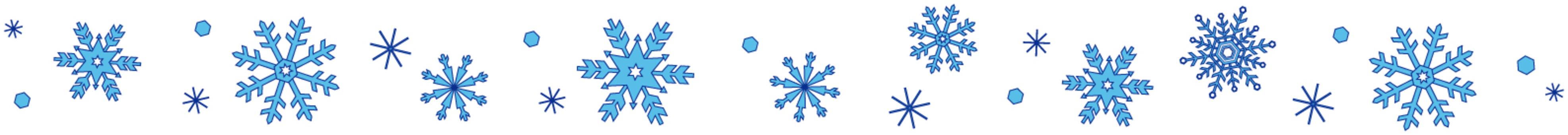 Snow crystal line blue