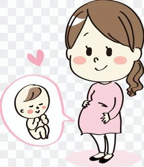 Pregnant woman Baby on the stomach