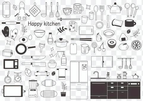 手繪廚房用品3單調