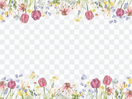 花框架162  - 自然春天庭院的春天花框架