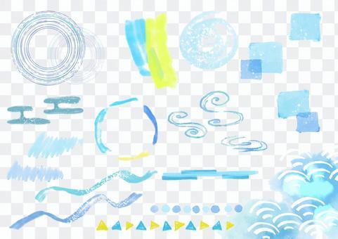 日式素材 085 日式夏日水彩裝飾