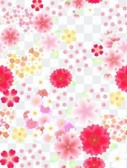 ai櫻桃和蝴蝶圖案與色板