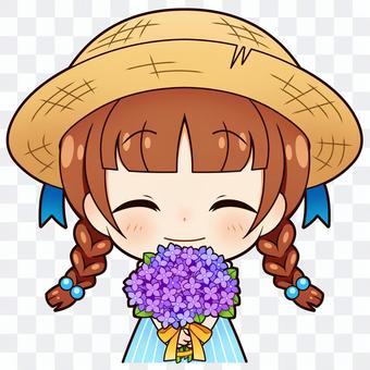 女孩和繡球花